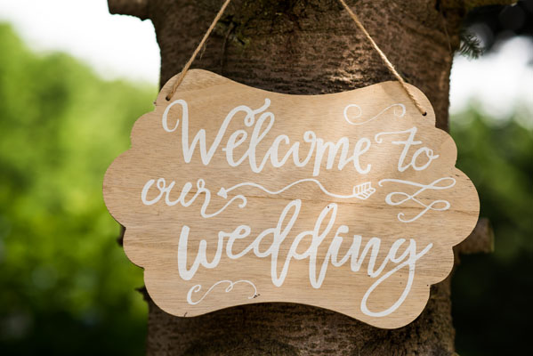 Welkomsbord 'Welcome to out wedding'
